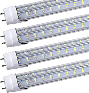 25Pack-FTUBET LED Tube Light 4Ft, 60W, 6500LM, 5000K Clear Cover,Double Sided 4 Row 384pcs LED Chips, V Shape 270 Degree Lighting LED Tubes, Dual-End Powered, No T8 Ballast,
