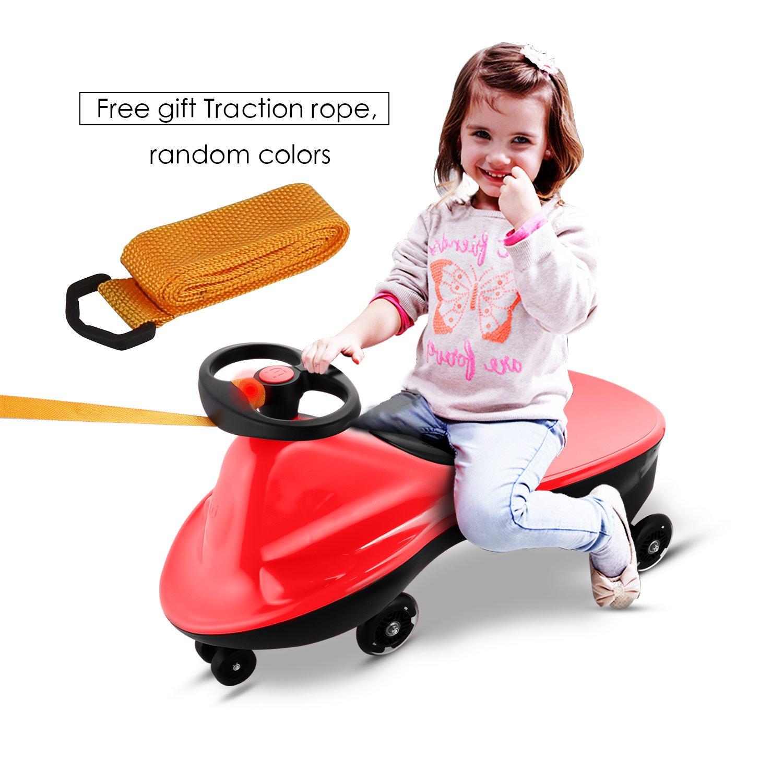 Befied Coche Correpasillos infantiles Giratorio Scooter Bicicleta sin pedales ruedas con luces Juguete para niños carga máxima 80 KG (Azul)
