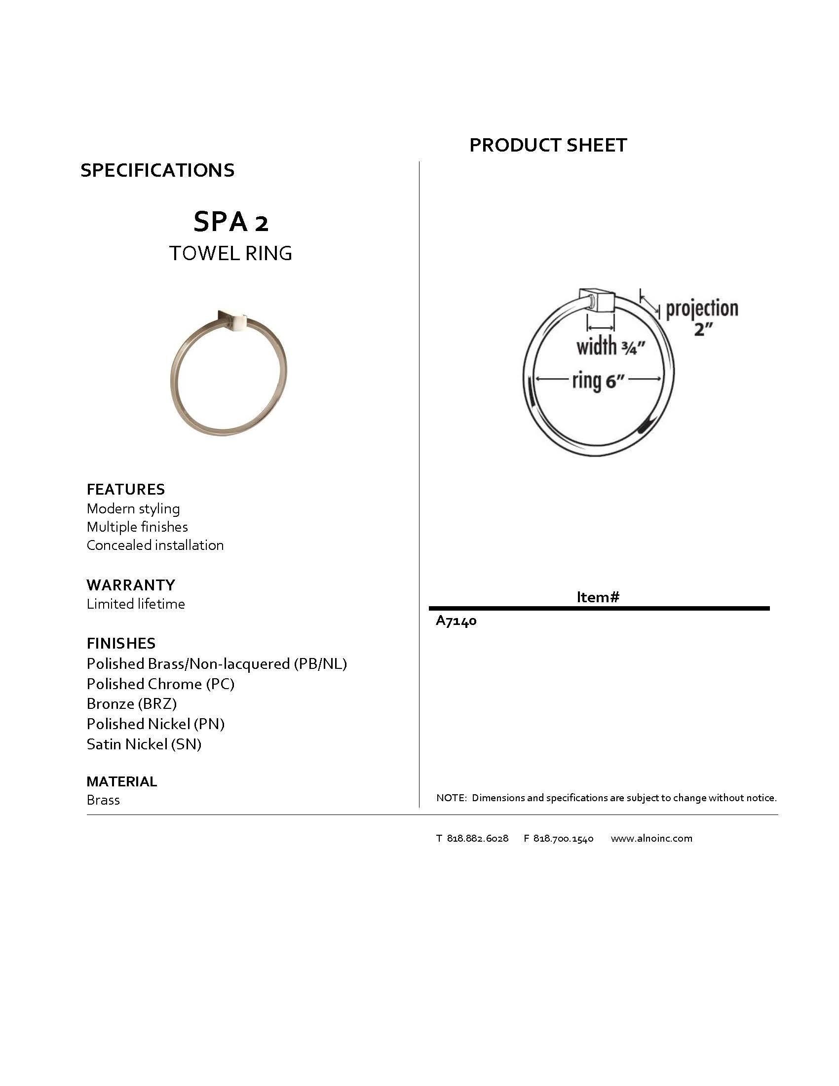 Alno A7140-PC Spa 2 Modern Towel Rings, Polished Chrome, 6''