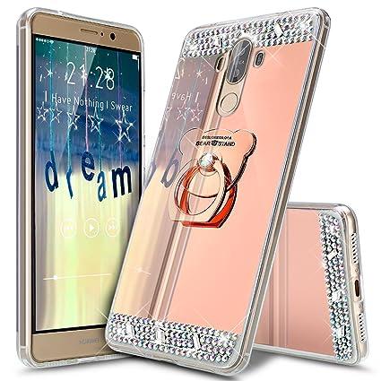 Funda Huawei Mate 9, Carcasa Huawei Mate 9, ikasus [Oso Soporte titular] Flexible TPU Diamante de Imitación Rhinestone Enchapado Espejo de Silicona ...