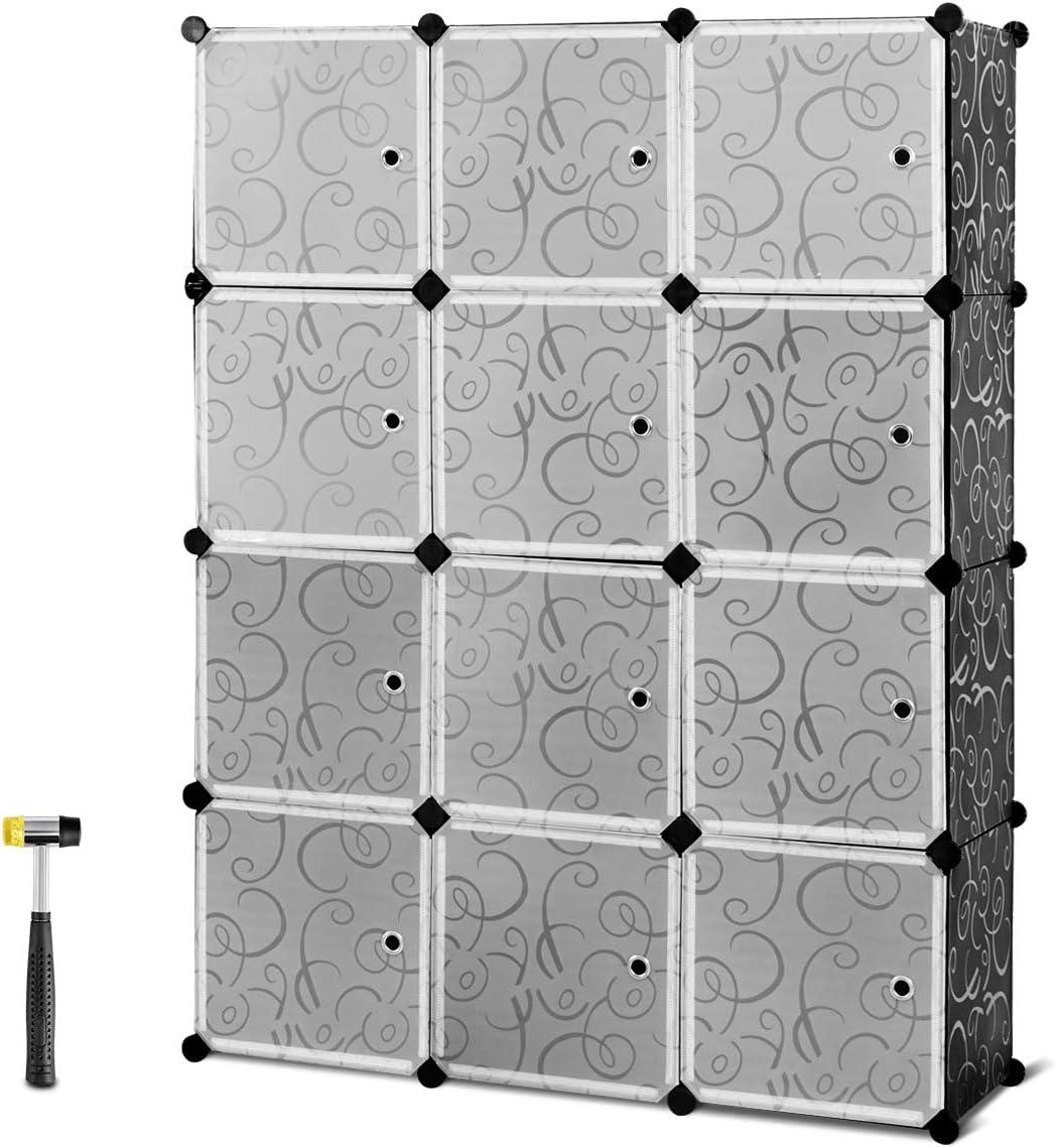 HAPPYGRILL Portable Clothes Closet Wardrobe, Cabinet Bedroom Armoire, DIY Storage Organizer Cubes