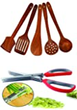Home Belle Wooden Multipurpose Serving and Cooking Non Stick Spoon Set of 5 (Brown)