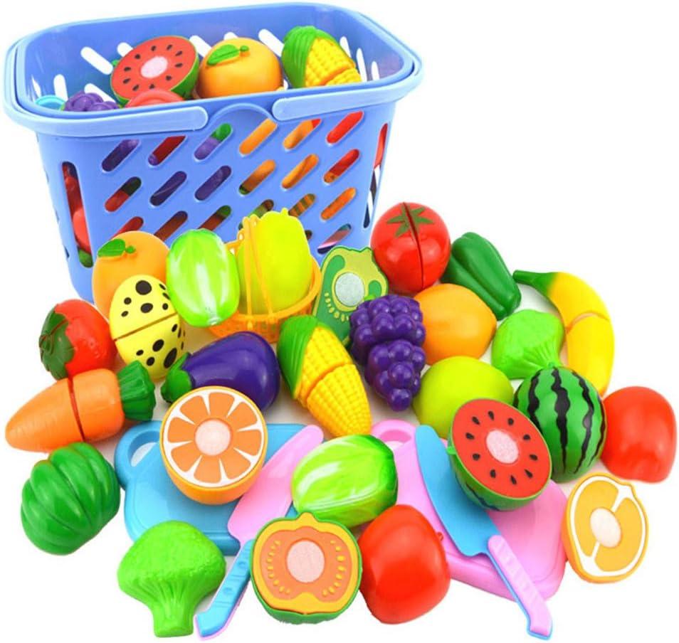 Liamostee - Juego de 23 Piezas de plástico para Cortar Verduras y Frutas, Juguete Educativo para el Desarrollo temprano para bebés y niños