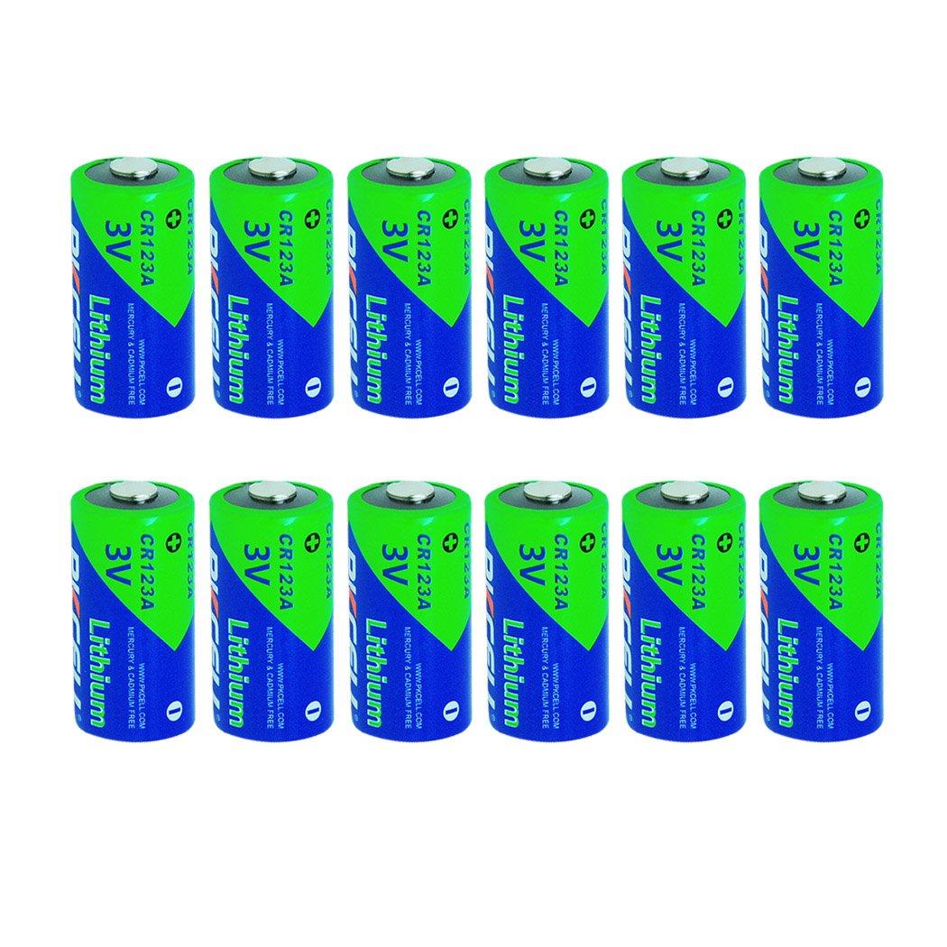 123A CR123A DL123A CR17345 3 Volt 1500mAh Li-MnO2 Battery,12 PC by PKCELL