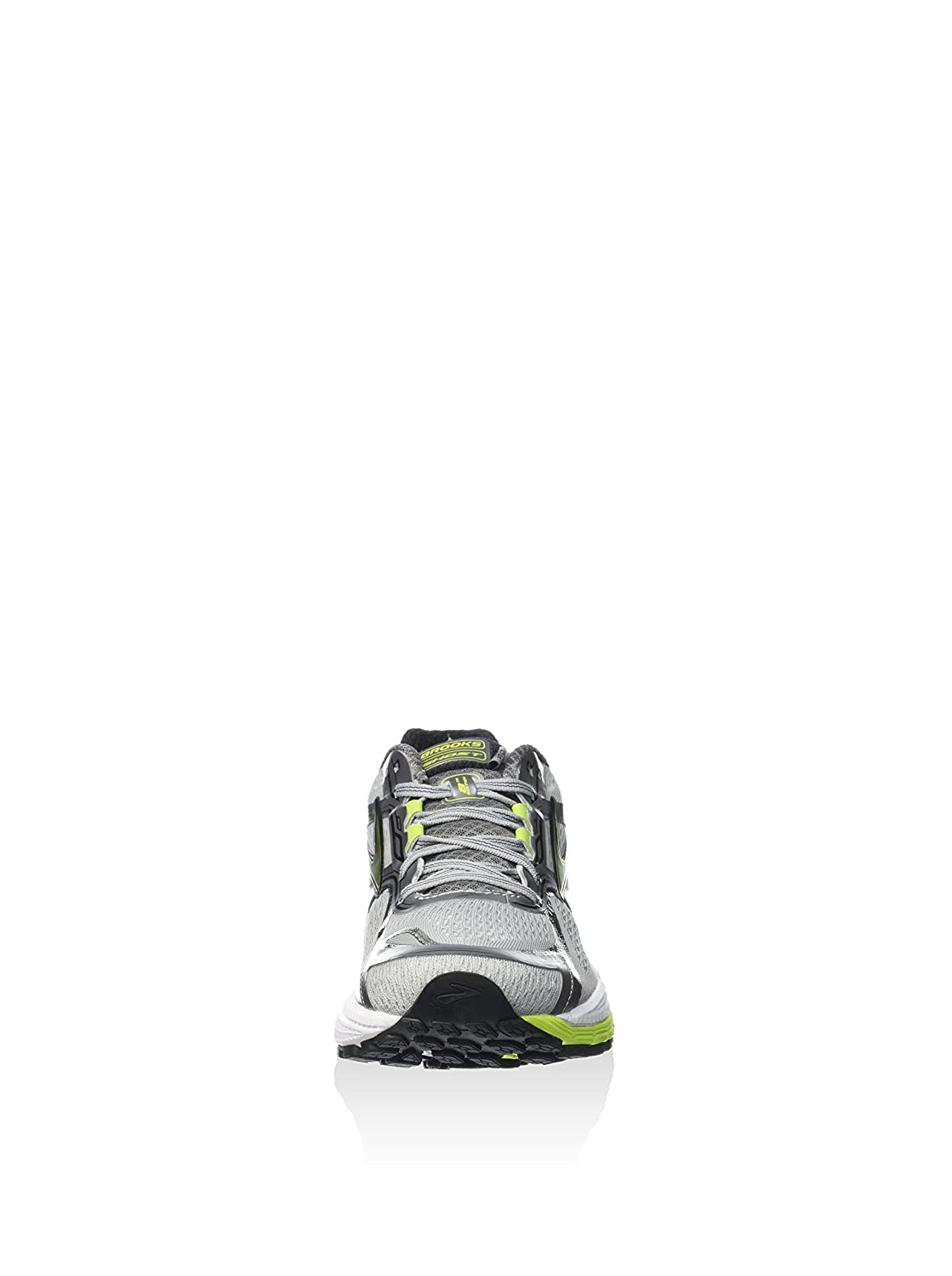 9.5 B Narrow Brooks Mens Ghost 8 Metallic Charcoal//Lime Punch//Silver Running Shoe