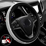 New Diamond Leather Steering Wheel Cover with Bling Bling Crystal Rhinestones, Universal Fit 15 Inch Anti-Slip Wheel Protector for Women Girls Black