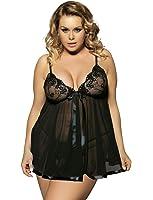 Yummy Bee Lingerie Plus Size 6-30 Babydoll Nightwear Set Women Chemise Sleepwear