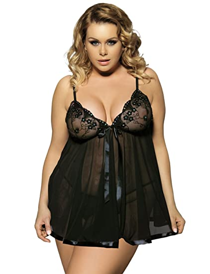 dbd2d75e21 Yummy Bee Lingerie Plus Size 6-30 Babydoll Nightwear Set Women Chemise  Sleepwear  Amazon.co.uk  Clothing