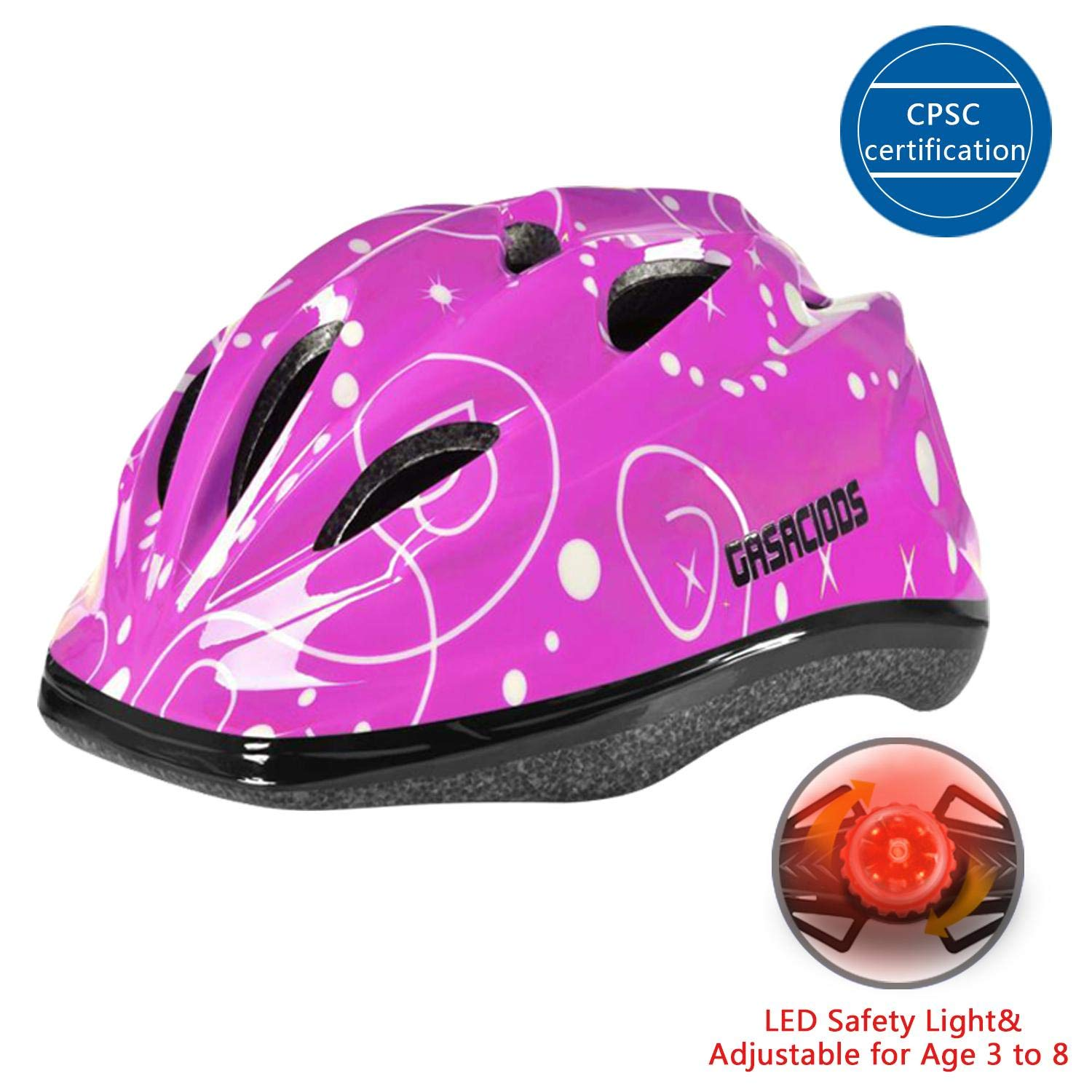 Kids Child Bike Skateboard Helmet With LED Warning Light Adjustable ASTM CPSC Safety for Scooter Rollerblading Inlineskating Cycling Balance Mutli-sport for Girls Boys 3-8 Year old Toddler