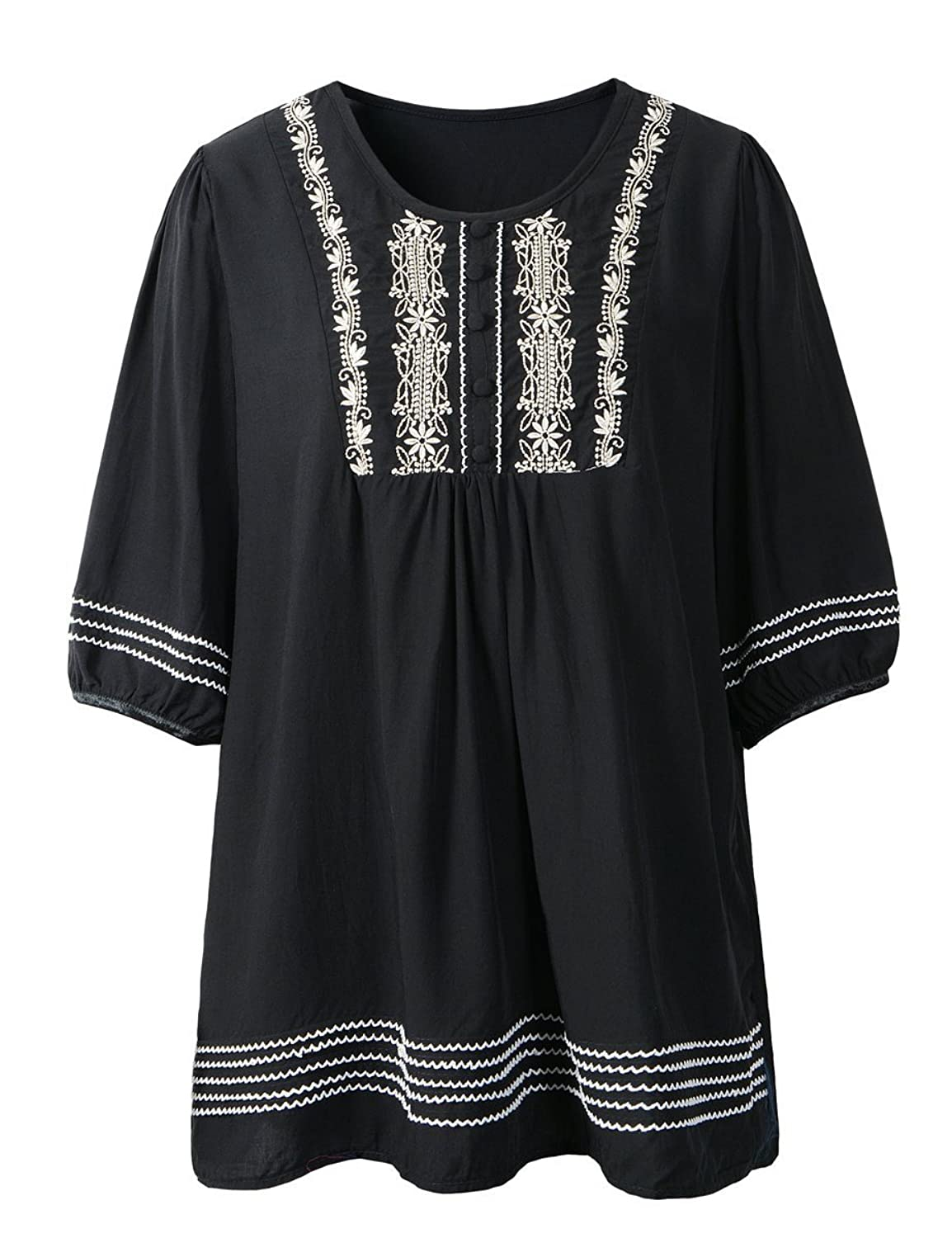 lanmo women peasant top summer blouse flower embroidered shirt lanmo women peasant top summer blouse flower embroidered shirt one size us 10 12 b black at amazon women s clothing store