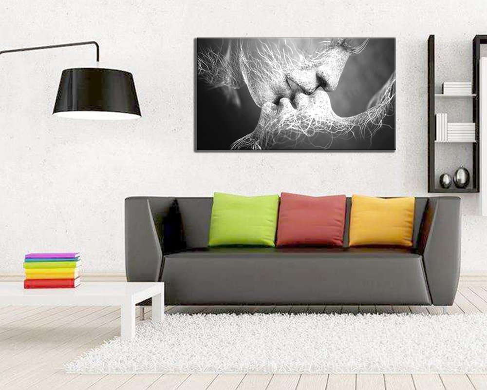 GOUPSKY Kiss Canvas Painting Black and White Picture Frames Romantic Kissing Couple Wall Art Decor Giclee Print Artwork 16X24 inch Stretched and Framed Ready to Hang by GOUPSKY (Image #6)