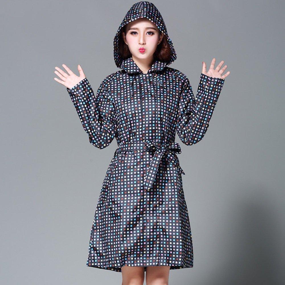 Black ZEMIN Rain Jacket Coat Waterproof Raincoat Poncho Cover Windbreaker Belt Dot Female Hoods Sleeves Polyester, M, 2 colors Available Waterproof (color   White, Size   M)