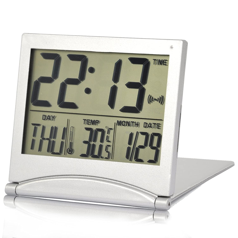TRIXES Reloj Alarma de Mesa con Temperatura y LCD Digital en Color Plata: Amazon.es: Electrónica