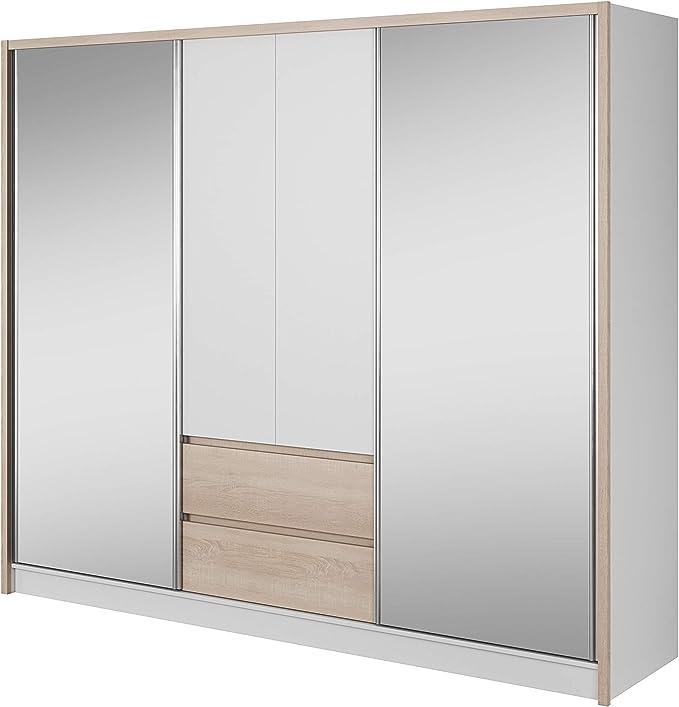 E-MEUBLES - Armario ropero con estantes, Puertas correderas, Espejo Empotrado, cajones, Dormitorio de niño, salón, Entrada para Ropa Lucy: Amazon.es: Hogar