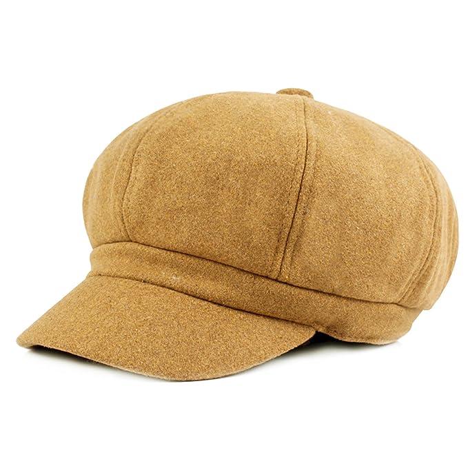 HowYouth® Cappello Berretto da Baseball da Donna a 8 Pannelli in Lana con  Piatto (Cammello)  Amazon.it  Abbigliamento 76f253c8fec6