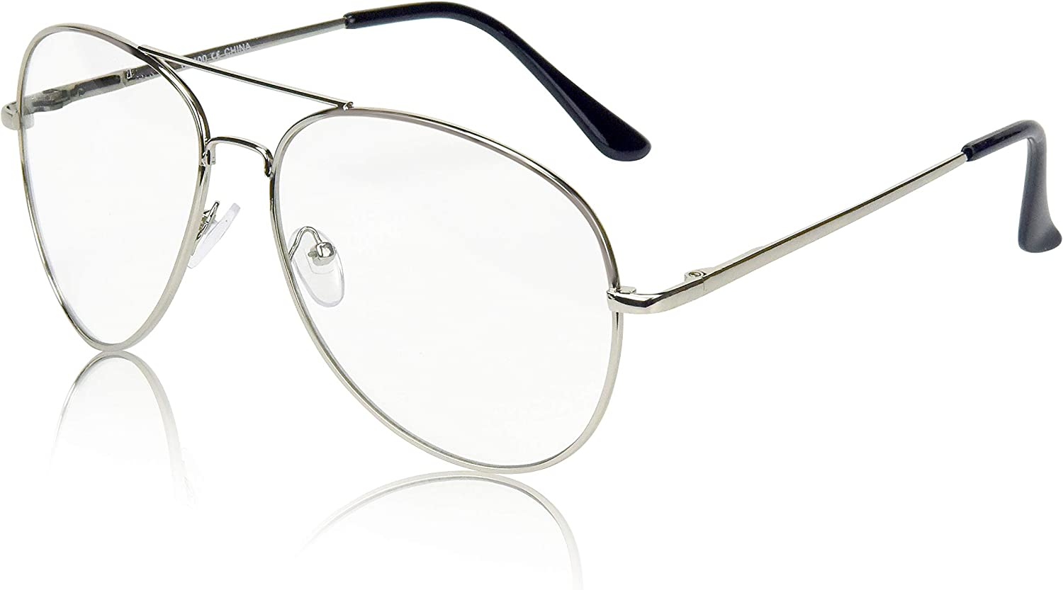 Sunny Pro Aviator Glasses Oversized Metal Frame Clear Lens UV400 Protection
