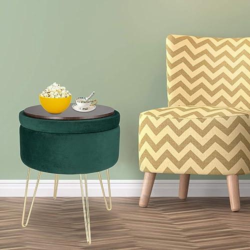 Kinsuite Modern Velvet Round Storage Ottoman Seat Footrest Stool