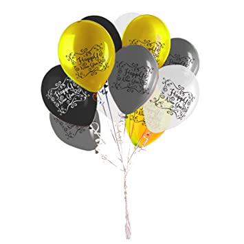 happy new year balloons 4 metallic colors gold silver black transparent party decoration