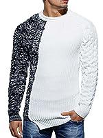 Pullover da uomo a maglia intrecciata, asimmetrico, taglio aderente
