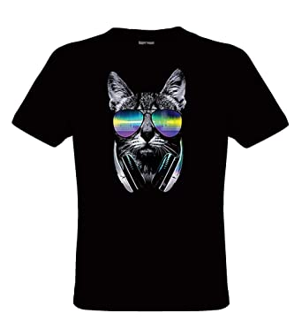 DarkArt-Designs DJ Cat - Camiseta del gato para niños y adultos - Motivo de animales Estilo de Vida T-Shirt regular fit: Amazon.es: Ropa y accesorios