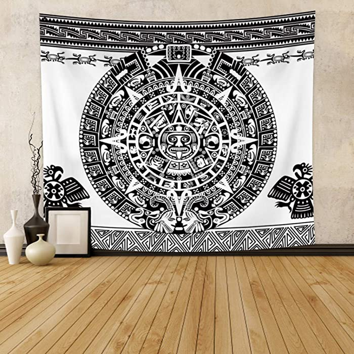 Leowefowa Aztec Tapestry Mayan Calendar Wall Hanging Mystical Traditional Symbol Wall Tapestry Modern Wall Art Blanket Home Decoration For Living Room Bedroom Dorm 70.9
