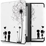 kwmobile Cover per Kobo Glo HD (N437) / Touch 2.0 - Custodia protettiva a libro per e-reader in similpelle - Case flip per e-book reader Design soffione amore nero bianco