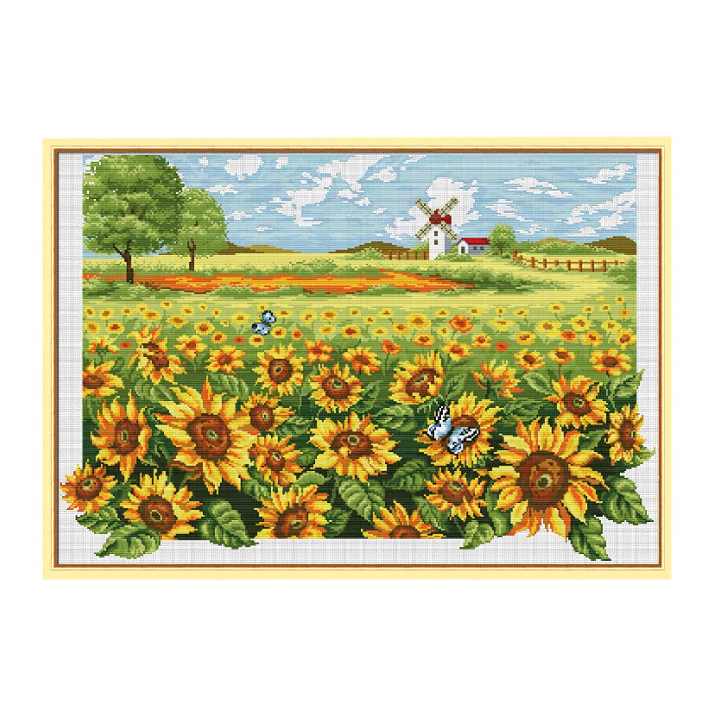 Prettyia Cross Stitch Stamped Kit Pre-Printed Pattern Sunflower 11ct Aida Fabric Size 36 inches by 26 inches Embroidery Needlework Art Crafts Lovers,No Frame
