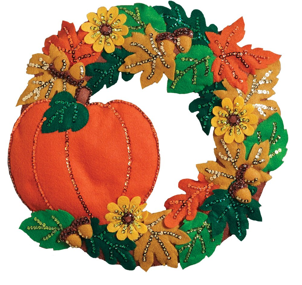 Bucilla Felt Applique Wall Hanging Kit 86831 Fall Wreath