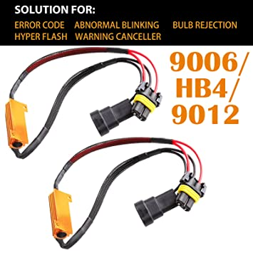 Pair 9006 HB4 9012 LED Light Load Resistor 6Ohm 50W Fix Hyper Flashing  Blinking Canbus Error Warning Eliminator Canceler
