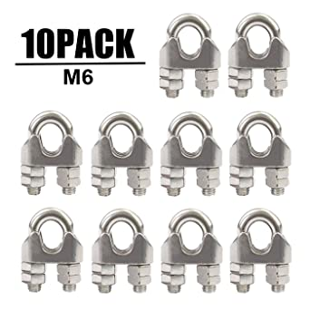 Durable 1//4 Inch M6 304 Stainless Steel Wire Rope Cable Clip Clamp 10 Pack
