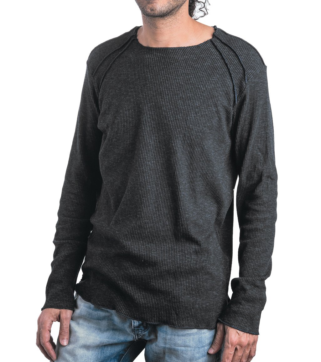 Men's Spring Thin Lightweight Cotton Sweater With Exposed seams - Street Style - In Grey Size Large