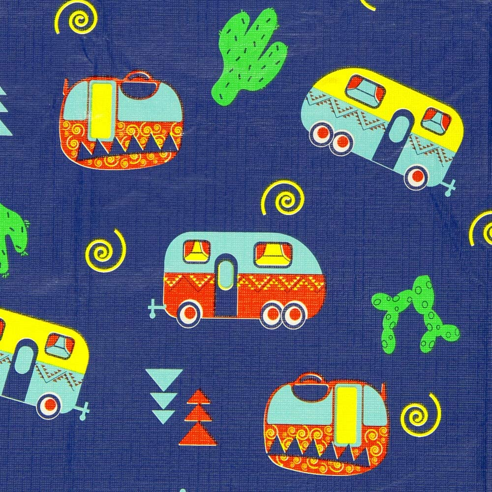 HAPPY DEALS ~ Vinyl Flannel Back Tablecloth - Southwestern Tablecloth Retro RV Camping Adventure - 54x82 inch
