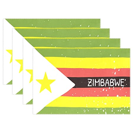 Super3Dprinted Distressed Zimbabwe Flag Placemat Table Mat 12 X 18 Polyester Place Kitchen Dining Room Set Of 4 Amazoncouk Home