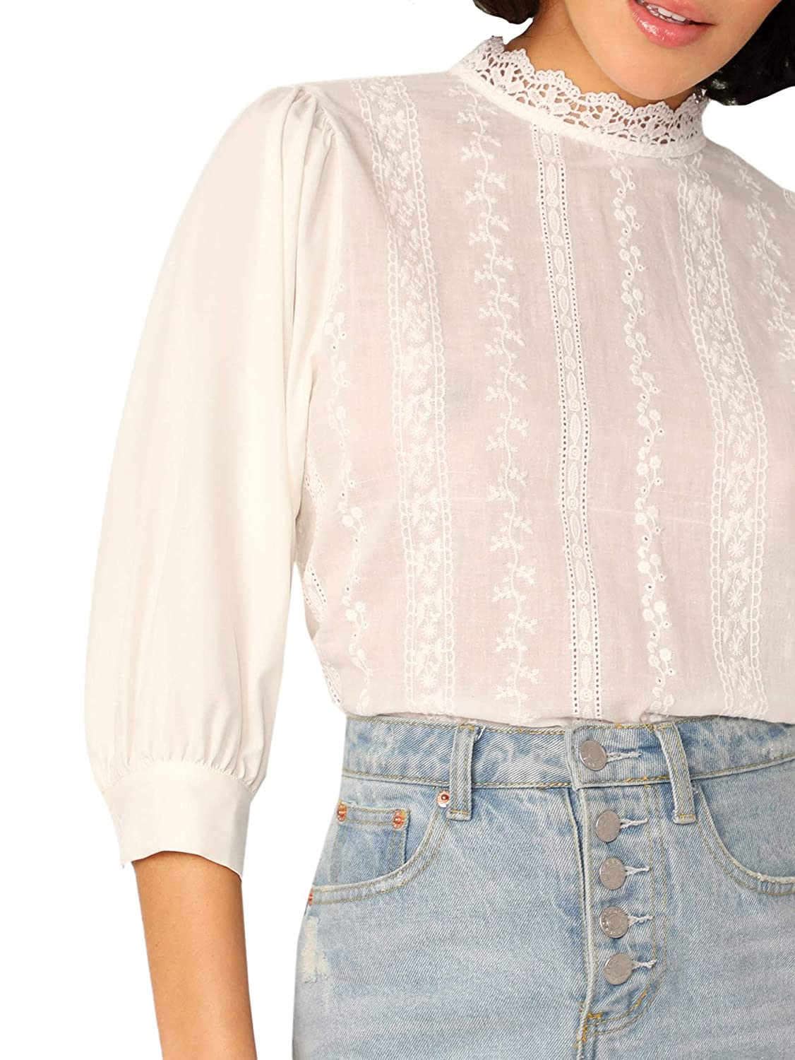 Edwardian Blouses | White & Black Lace Blouses & Sweaters Verdusa Womens Lace Trim Mock Neck Embroidery Eyelet Blouse Top $18.99 AT vintagedancer.com