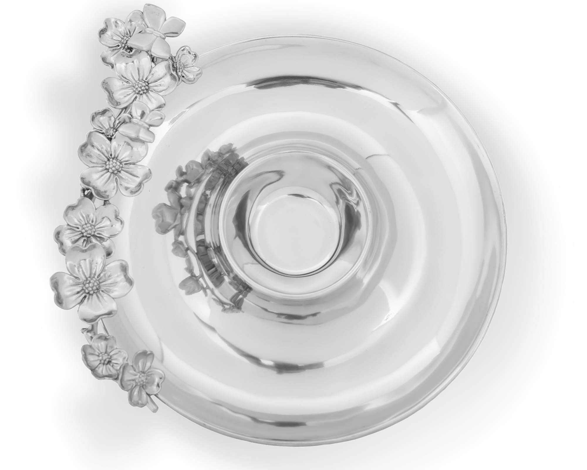 Arthur Court Designs Aluminum 15'' Butterfly and Dogwood Flower Chip and Dip