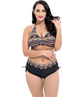 c5f8d0eb10049 Leories Women's Plus Size Pleated Push up Two-Piece Swimsuit Swimwear Bikini  Bathing Suits