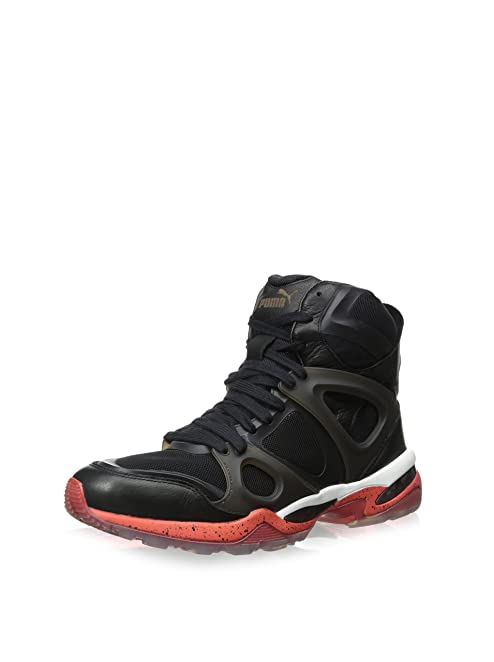 Mens McQ Run Mid Alexander McQueen Black/Red Synthetic Athletic Sneakers