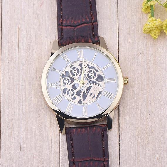 Montre-Bracelet à Quartz à Cadran analogique LEEDY (Marron): Amazon.fr: Montres