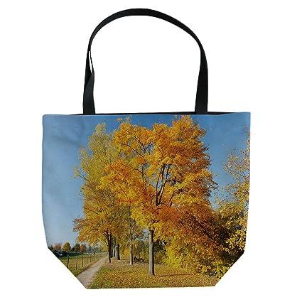 Seasonal Trees Notes >> Amazon Com Iprint Hand Canvas Bag Shoulder Bag Fall Misty Forest