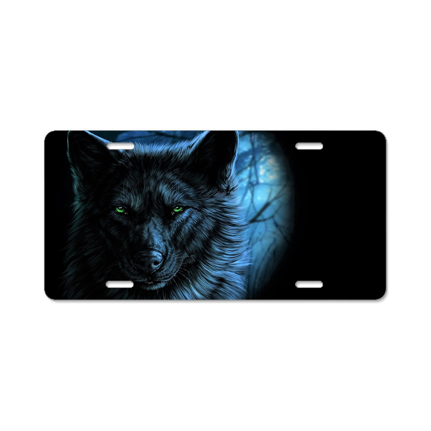 Rchengqush Personalized Novelty Front License Plate Covers Custom Vanity Decorative Aluminum Car Tag Wolf Green Eyes