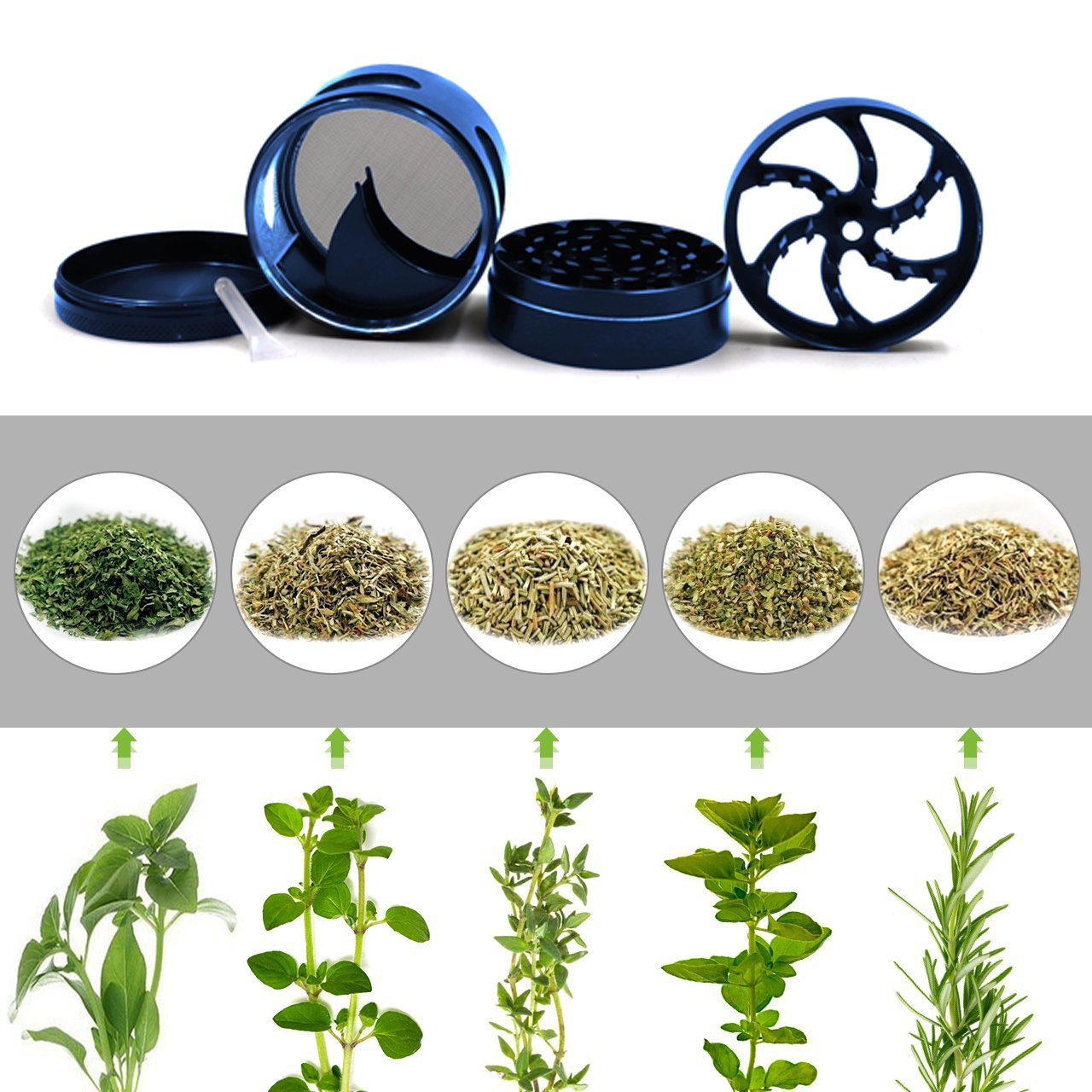 AIMAKE New Design Herb Weed& Spice 4 Piece Large 2.5 Inches Flash Windows Mills Grinder with Pollen Catcher(Blue) by aiMaKE (Image #7)