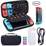 Nintendo Switch Case with Screen Protector - Zodight Hard Travel Carry Case + Protective Cover + TPU Protective Film + Charge Cable, Larger Storage Space for Nintendo Switch Console & Accessories