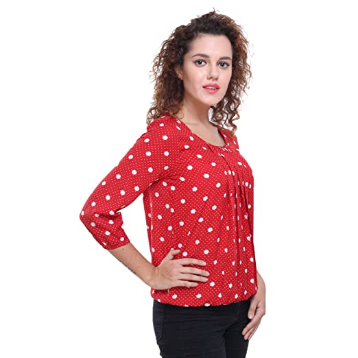 7fb0354380a3ac Deewa Red Polka Dots Top  Amazon.in  Clothing   Accessories