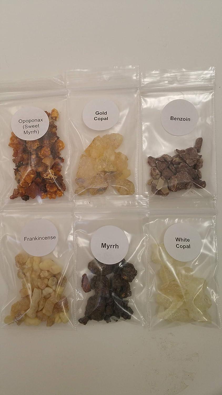 The Better Scents レジンお香 バラエティーサンプラーセット - フランキンセンス1/4オンスバッグ - Myrrh- Opoponax(スイートミルル) - ゴールドコーパル - ホワイトコーパル - ベンゾイン天然樹脂 B07PY61Q3W