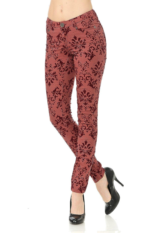 VIRGIN ONLY Womens Velvet flocking brocade print pants 15850