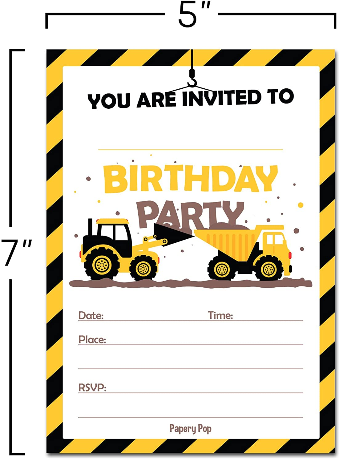 Amazon.com: 30 Construction Dump Trucks Birthday Invitations with ...