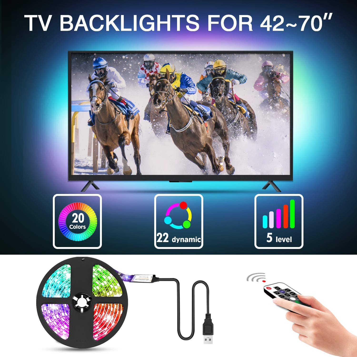Mounting Dream Led Strip Lights with Remote 9.8ft for 42-70 inch TVs, Waterproof USB TV Backlight Kit, LED Light Strip with 20 Colors Changing 5050 for Car, Bedroom, HDTV, PC Monitor, Home, MD50S425