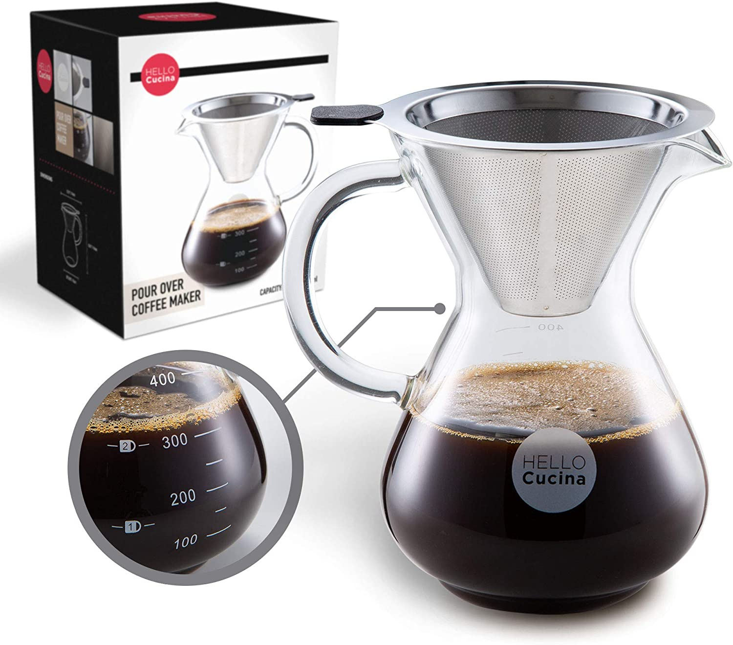 Hello Cucina Pour Over Coffee Maker, 13.5 Oz Coffee Dripper, Top Quality Borosilicate Glass Carafe with Stainless Steel Permanent Filter - A Kitchen Essential (1-Pack)