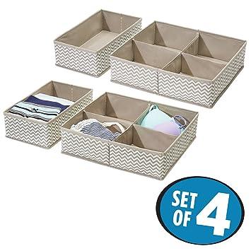 Mdesign 4er Set Schubladen Organizer Stoff Aufbewahrungsboxen Fur