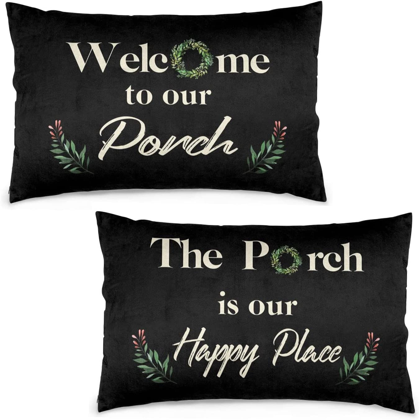 DZGlobal Welcome to Our Porch Pillow Covers 12x20 Set of 2 Our Happy Place Pillow Cases Black Outdoor Lumbar Pillow Covers for Front Porch Decor Farmhouse Patio Furniture